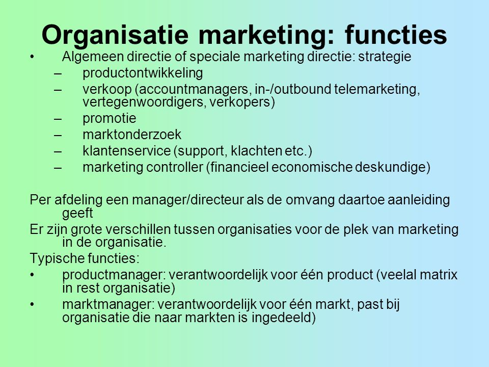 Organisatie marketing: functies