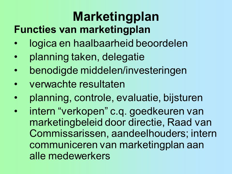 Marketingplan Functies van marketingplan