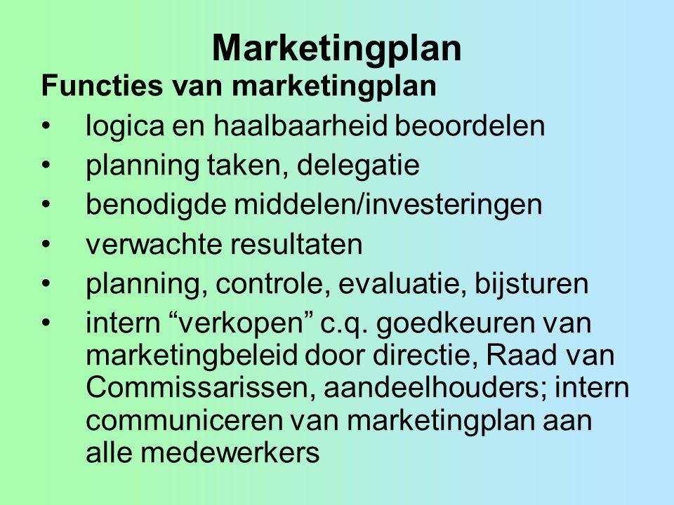 Marketingplan Functies van marketingplan