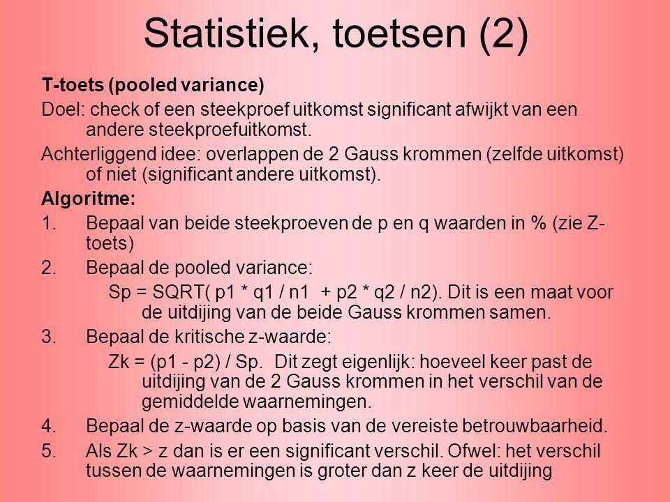 Statistiek, toetsen (2) T-toets (pooled variance)