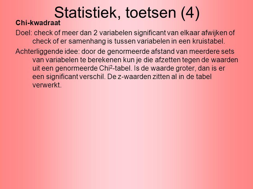 Statistiek, toetsen (4) Chi-kwadraat