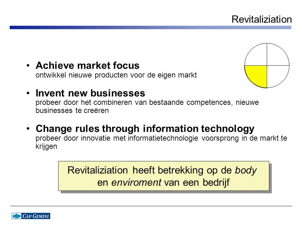 Revitaliziation Achieve market focus ontwikkel nieuwe producten voor de eigen markt.
