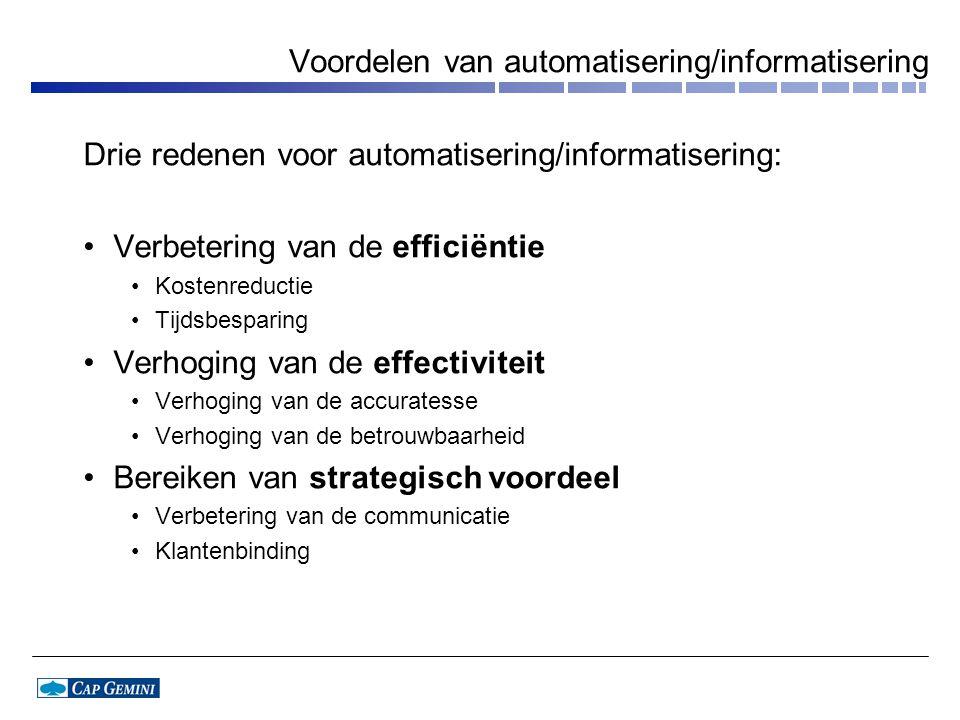 Voordelen van automatisering/informatisering
