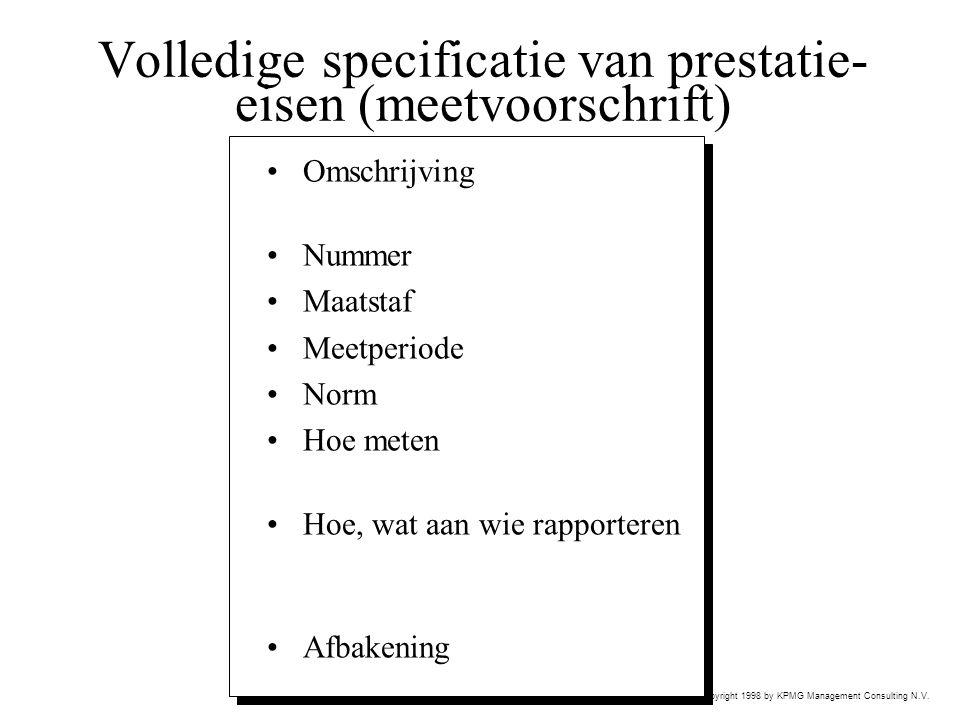Volledige specificatie van prestatie-eisen (meetvoorschrift)