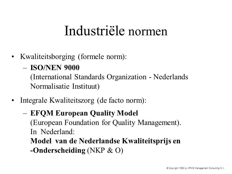 Industriële normen Kwaliteitsborging (formele norm):