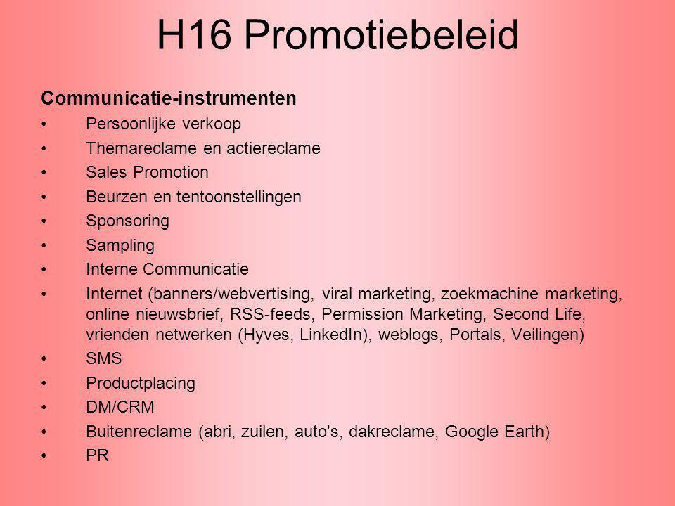 H16 Promotiebeleid Communicatie-instrumenten Persoonlijke verkoop