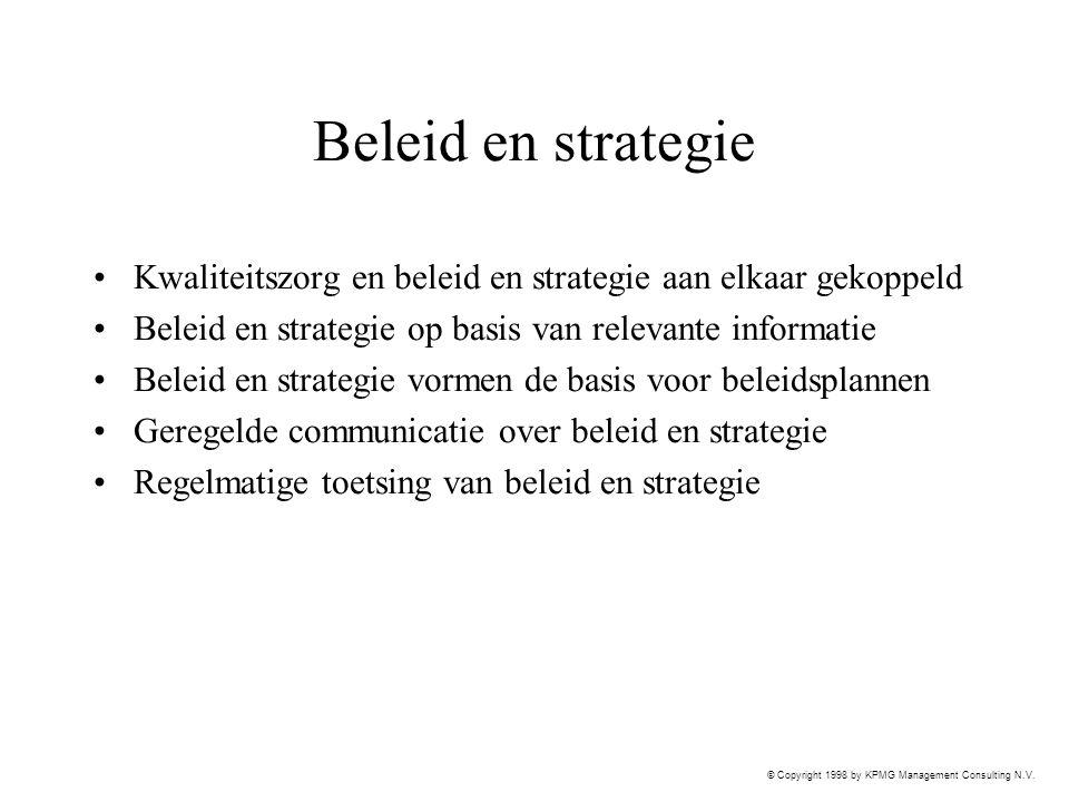 Beleid en strategie Kwaliteitszorg en beleid en strategie aan elkaar gekoppeld. Beleid en strategie op basis van relevante informatie.