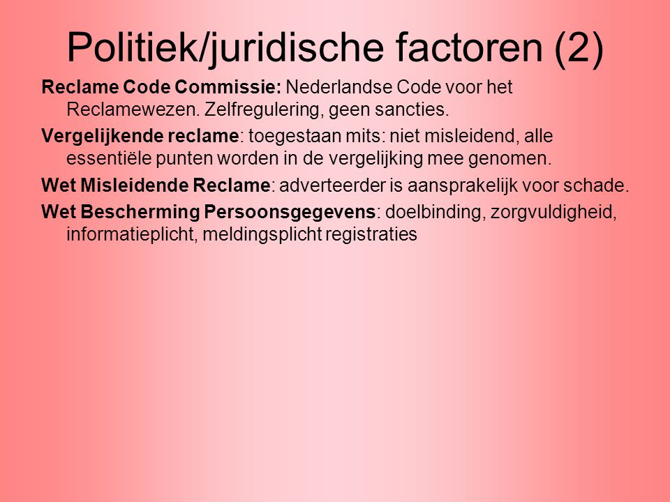 Politiek/juridische factoren (2)