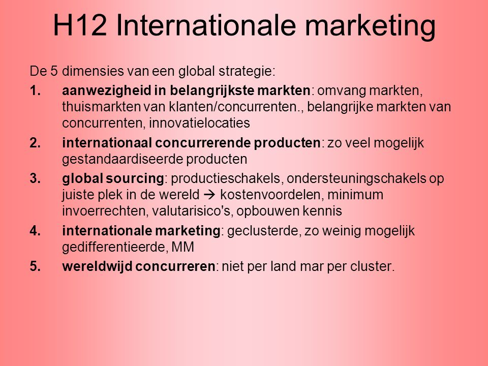 H12 Internationale marketing