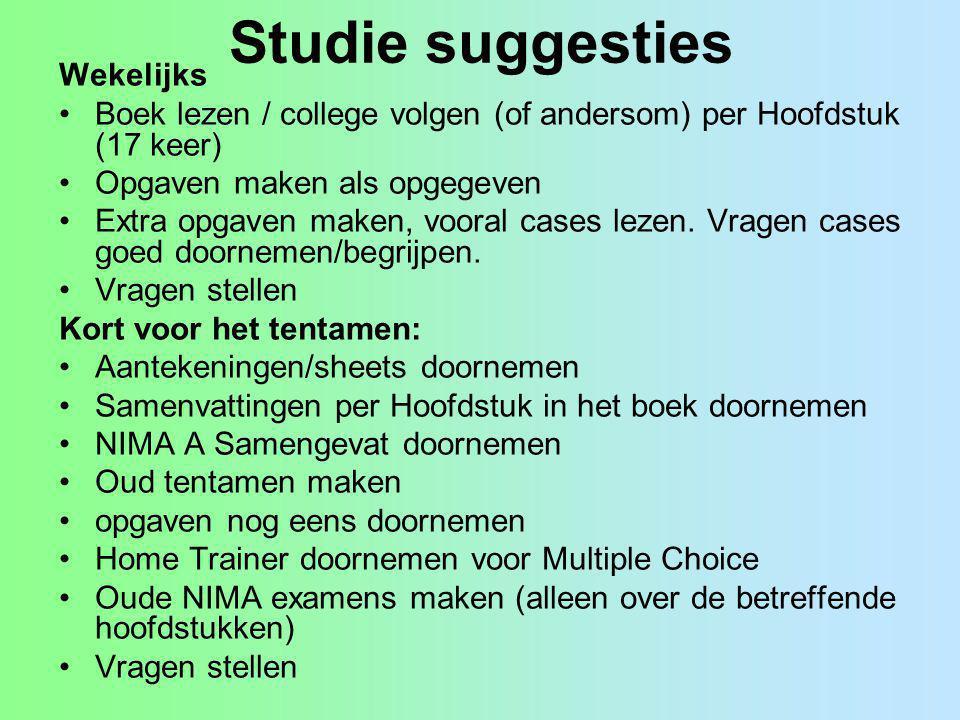 Studie suggesties Wekelijks