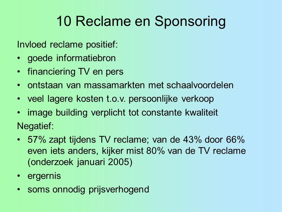 10 Reclame en Sponsoring Invloed reclame positief: