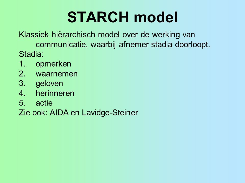 STARCH model Klassiek hiërarchisch model over de werking van communicatie, waarbij afnemer stadia doorloopt.