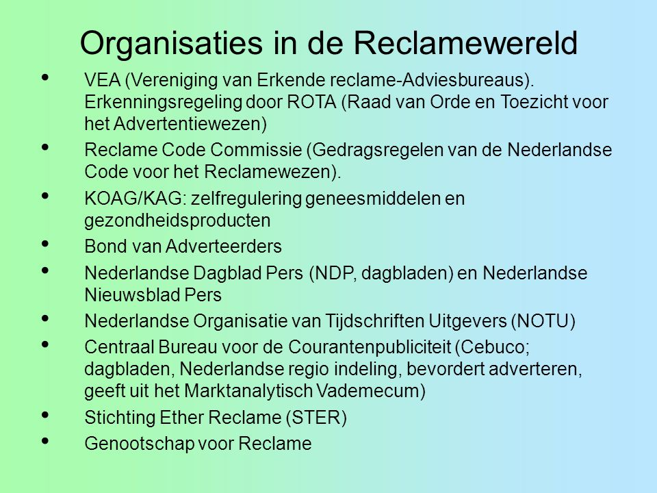 Organisaties in de Reclamewereld