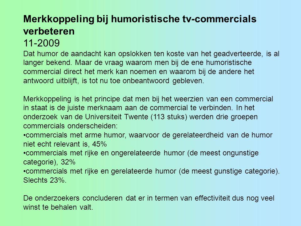 Merkkoppeling bij humoristische tv-commercials verbeteren 11-2009