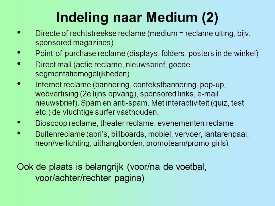 Indeling naar Medium (2)