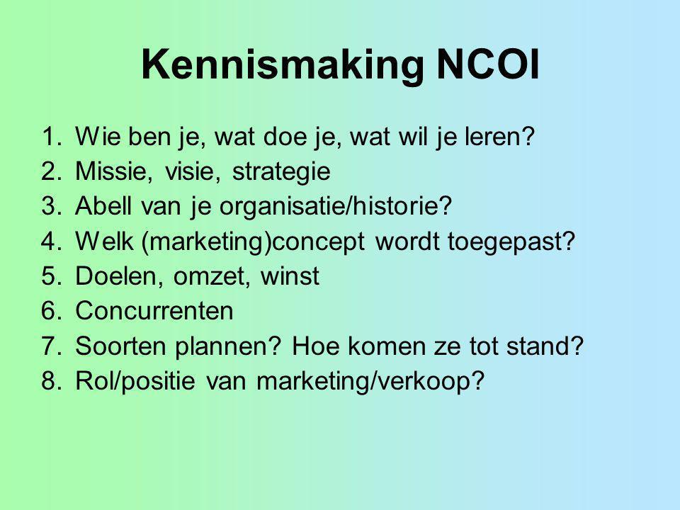 Kennismaking NCOI Wie ben je, wat doe je, wat wil je leren