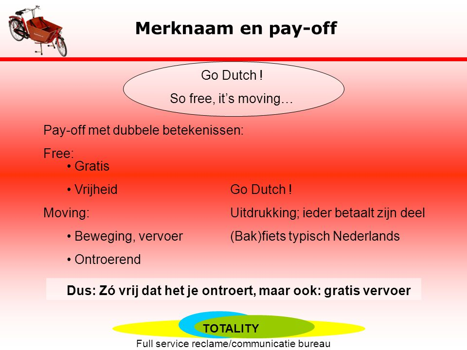 Merknaam en pay-off Go Dutch ! So free, it's moving…