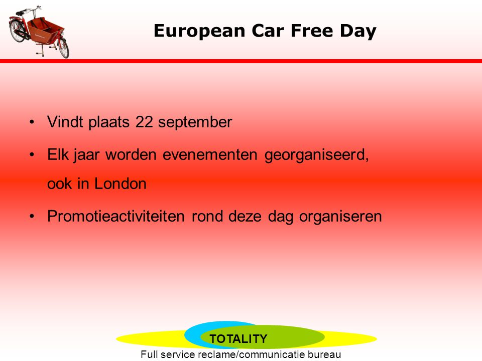European Car Free Day Vindt plaats 22 september
