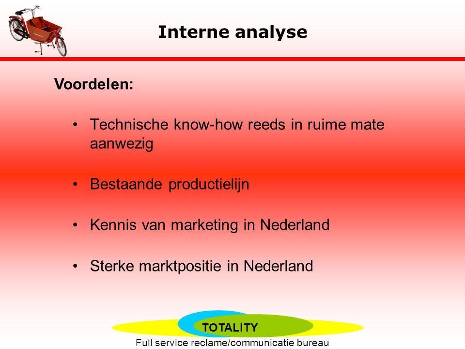 Interne analyse Voordelen: