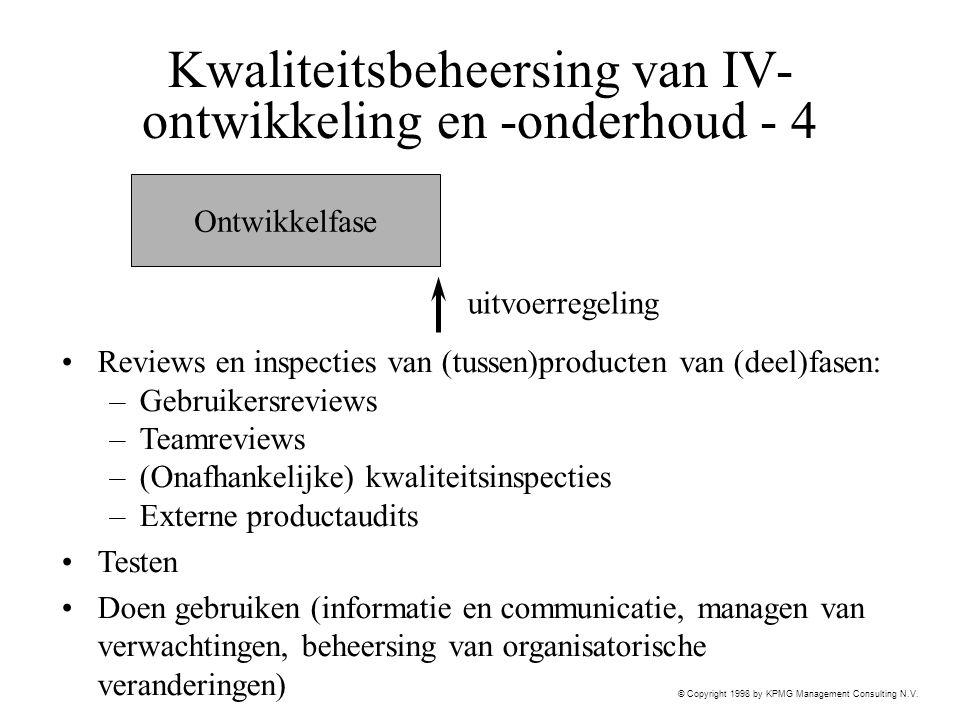 Kwaliteitsbeheersing van IV-ontwikkeling en -onderhoud - 4