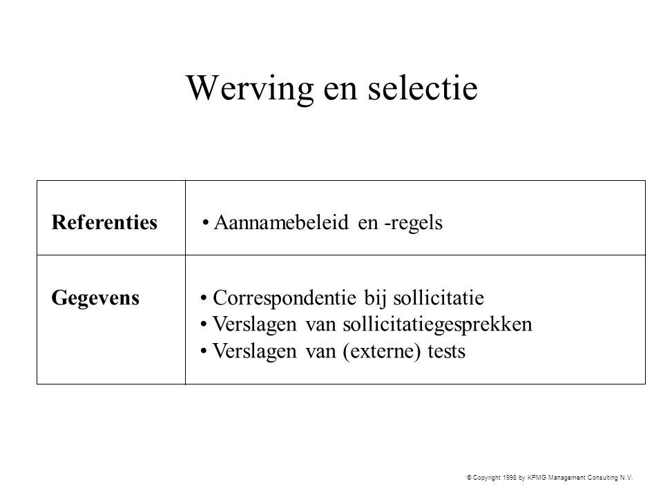 Werving en selectie Referenties Aannamebeleid en -regels Gegevens