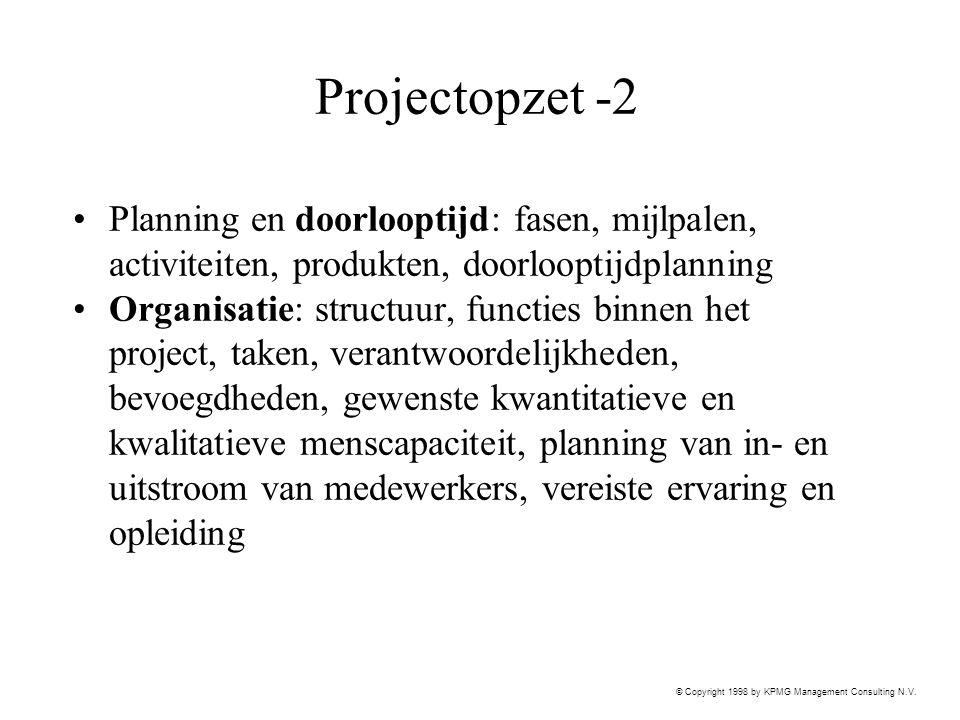 Projectopzet -2 Planning en doorlooptijd: fasen, mijlpalen, activiteiten, produkten, doorlooptijdplanning.