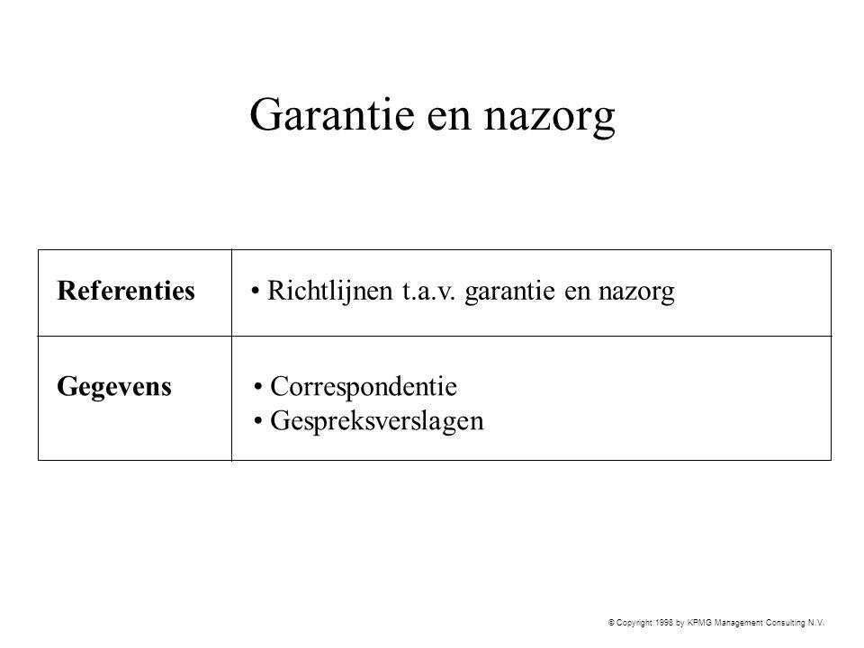 Garantie en nazorg Referenties Richtlijnen t.a.v. garantie en nazorg