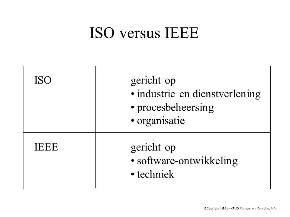 ISO versus IEEE ISO gericht op industrie en dienstverlening