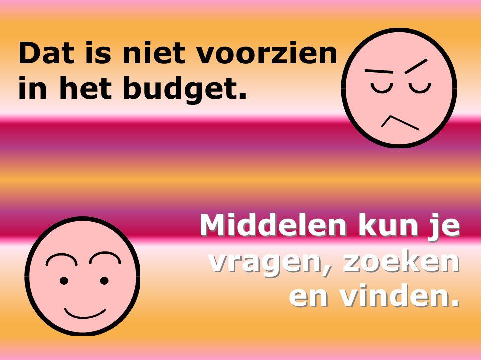 Dat is niet voorzien in het budget.