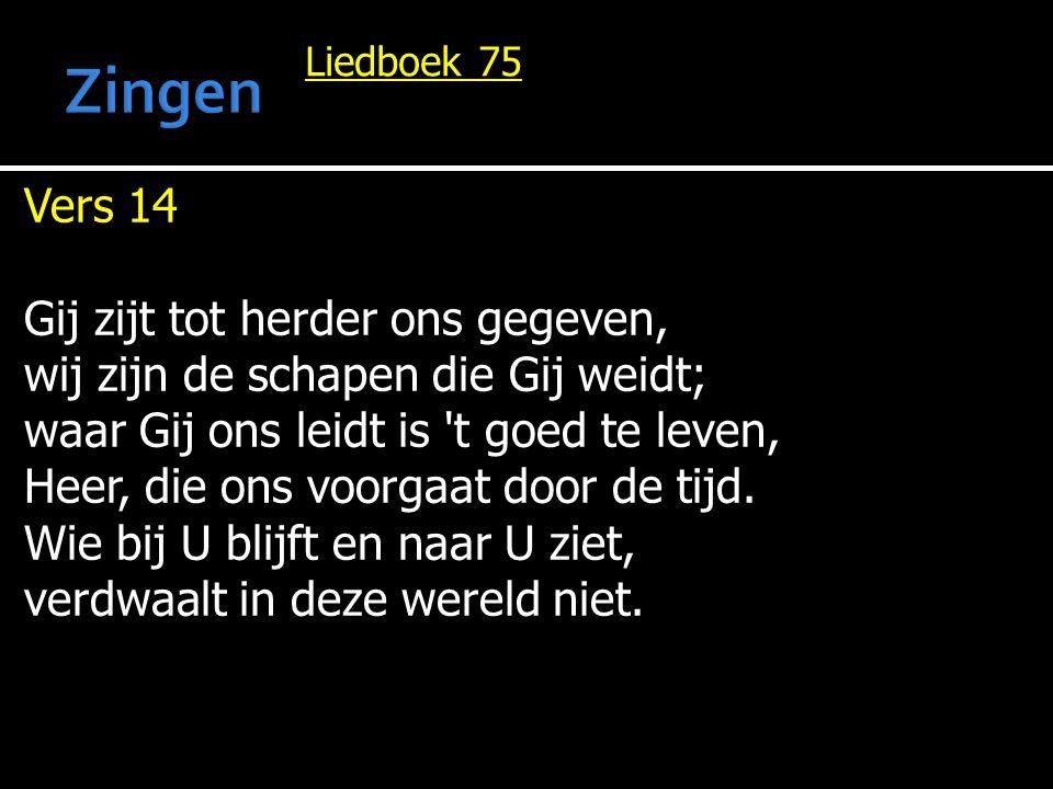 Zingen Vers 14 Gij zijt tot herder ons gegeven,