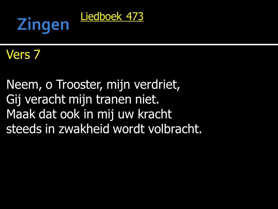Zingen Vers 7 Neem, o Trooster, mijn verdriet,