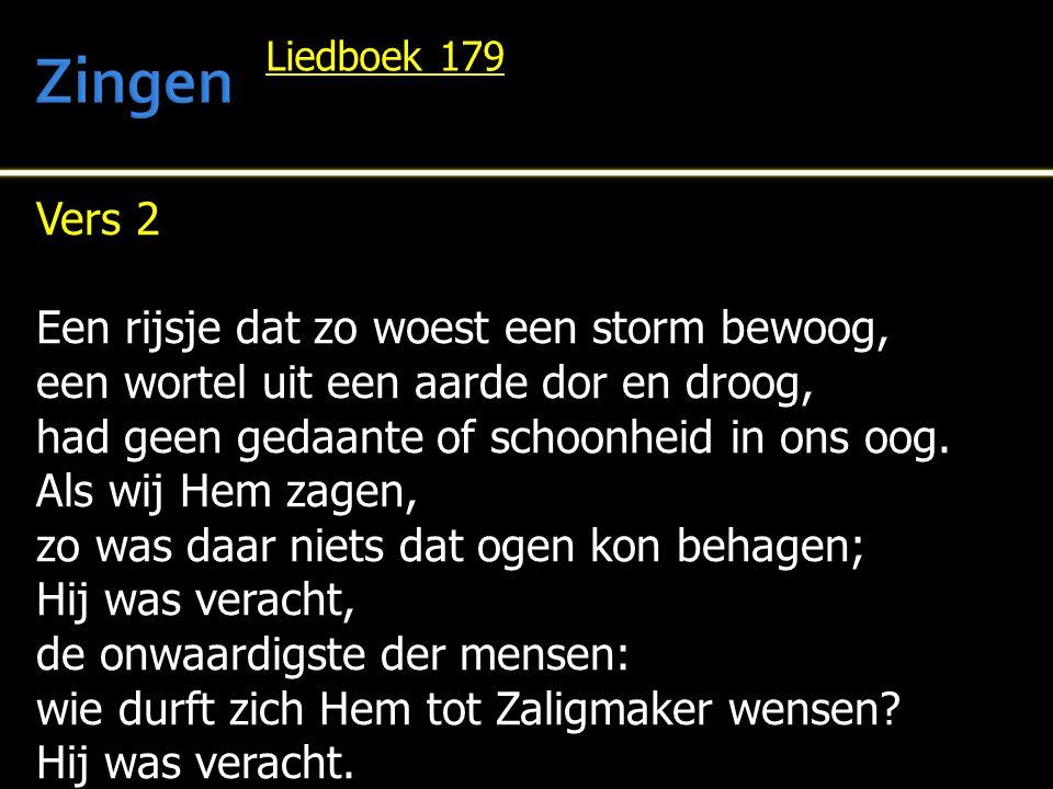 Zingen Vers 2 Een rijsje dat zo woest een storm bewoog,