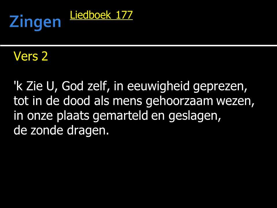 Zingen Vers 2 k Zie U, God zelf, in eeuwigheid geprezen,