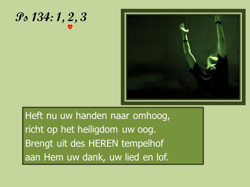 Ps 134: 1, 2, 3 Heft nu uw handen naar omhoog,