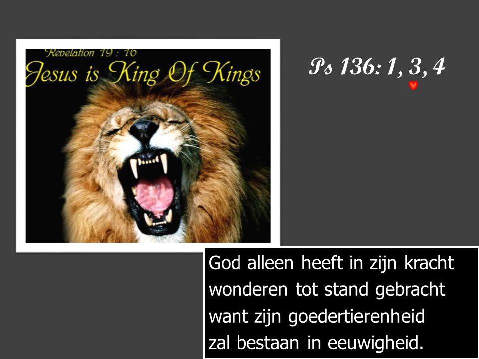 Ps 136: 1, 3, 4 God alleen heeft in zijn kracht