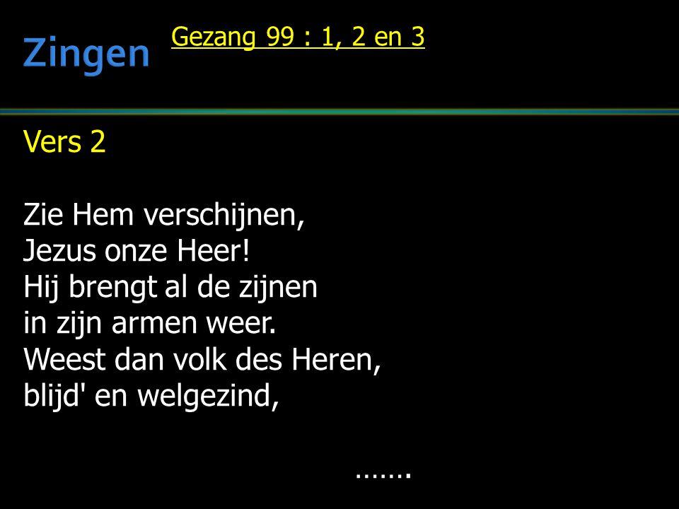 Zingen Vers 2 Zie Hem verschijnen, Jezus onze Heer!