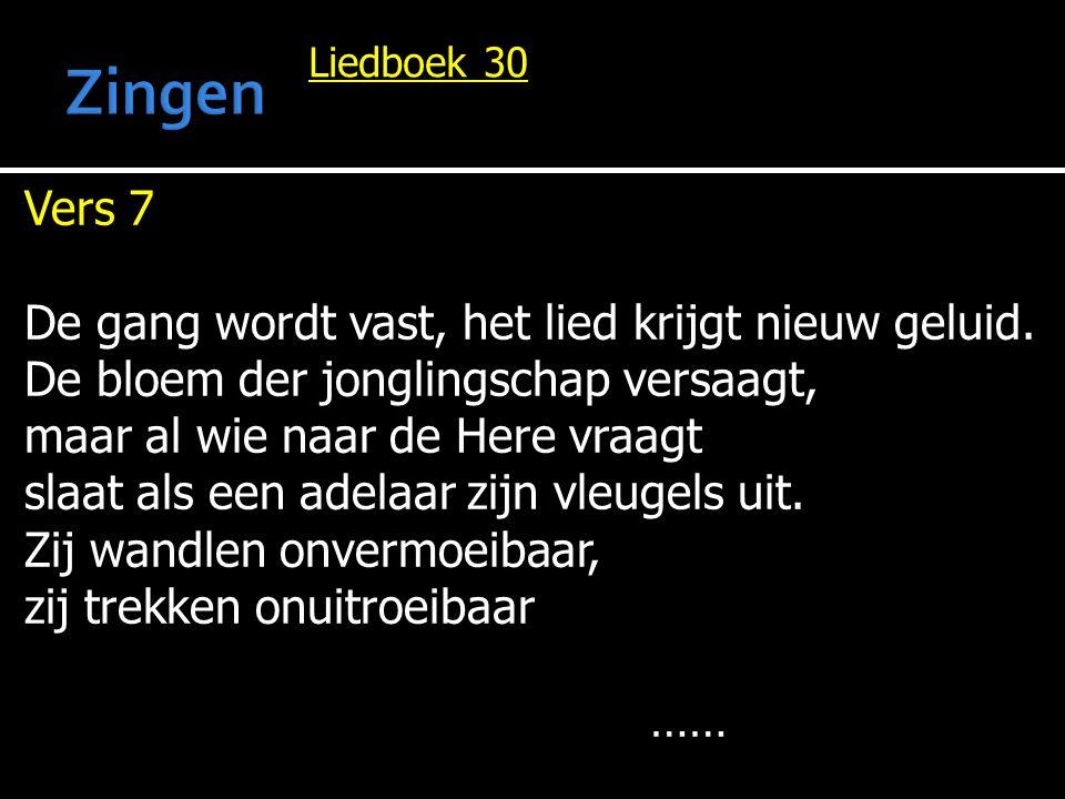 Zingen Vers 7 De gang wordt vast, het lied krijgt nieuw geluid.