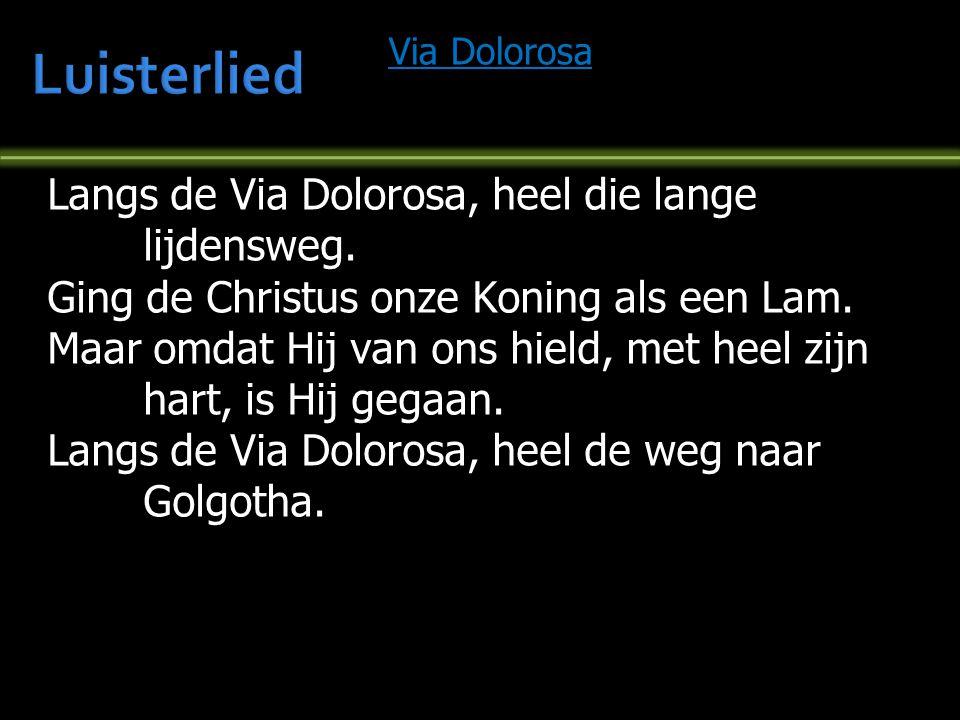 Luisterlied Langs de Via Dolorosa, heel die lange lijdensweg.