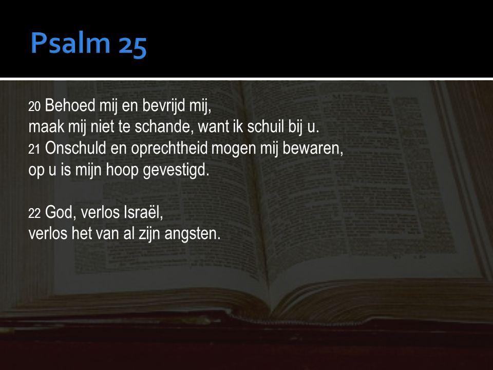 Psalm 25 maak mij niet te schande, want ik schuil bij u.
