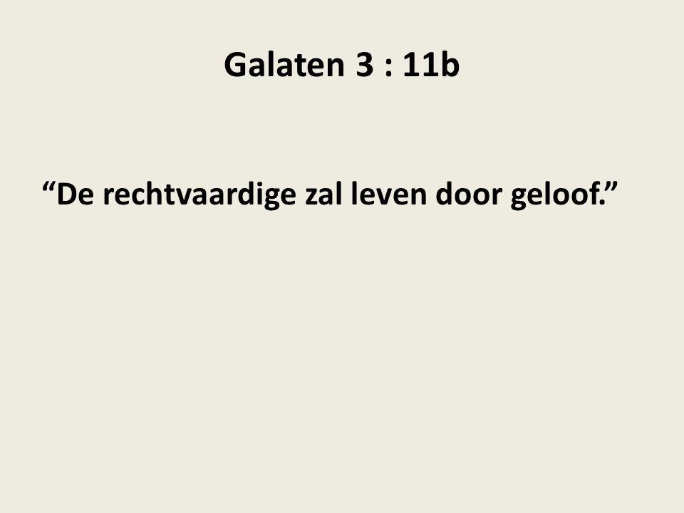 Galaten 3 : 11b De rechtvaardige zal leven door geloof.