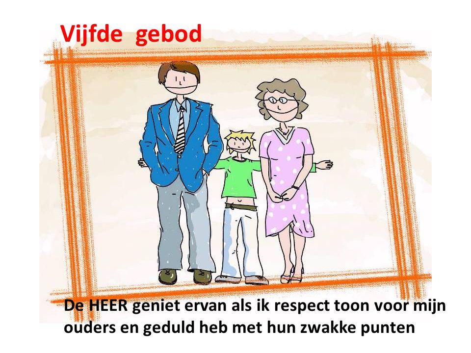 Vijfde gebod De HEER geniet ervan als ik respect toon voor mijn ouders en geduld heb met hun zwakke punten.