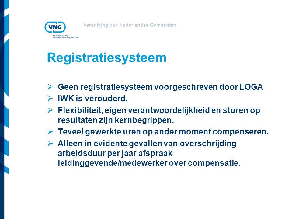 Registratiesysteem Geen registratiesysteem voorgeschreven door LOGA
