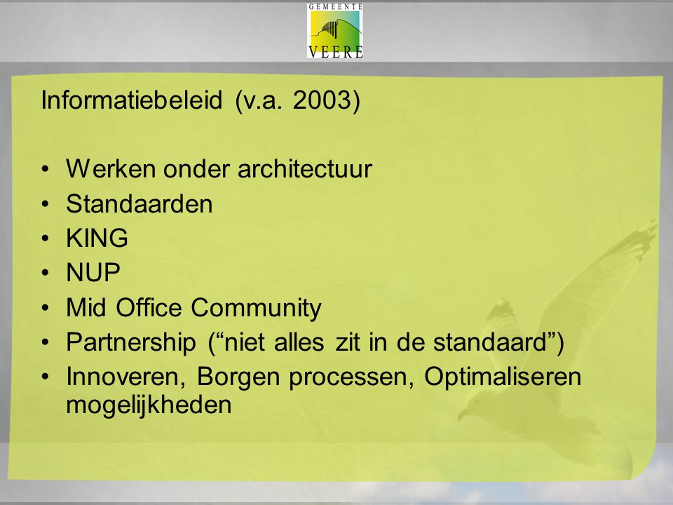 Informatiebeleid (v.a. 2003)