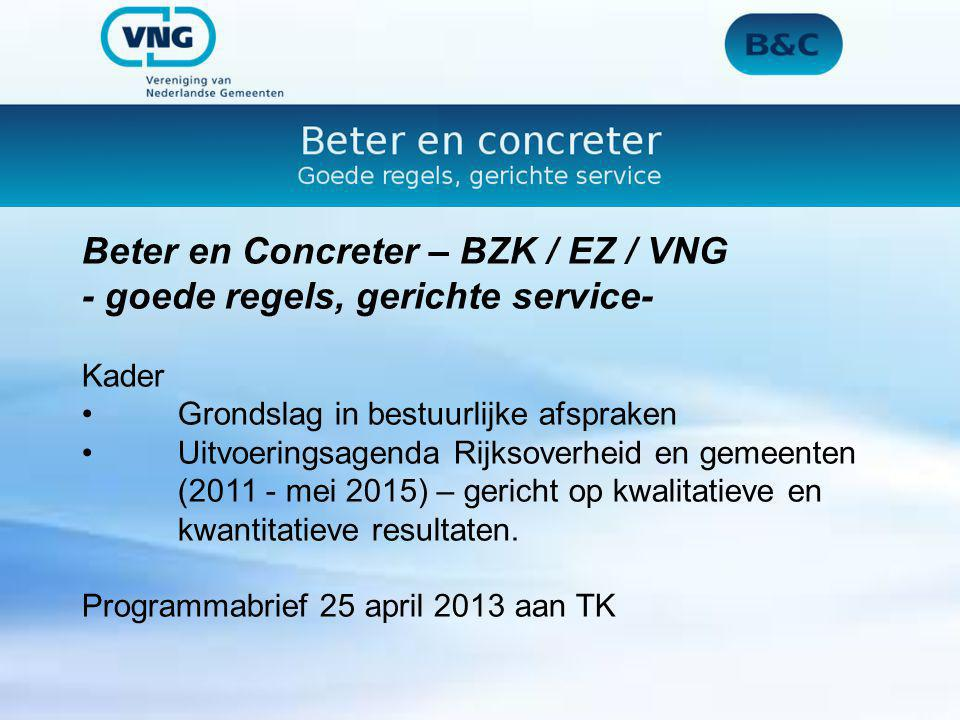 Beter en Concreter – BZK / EZ / VNG - goede regels, gerichte service-