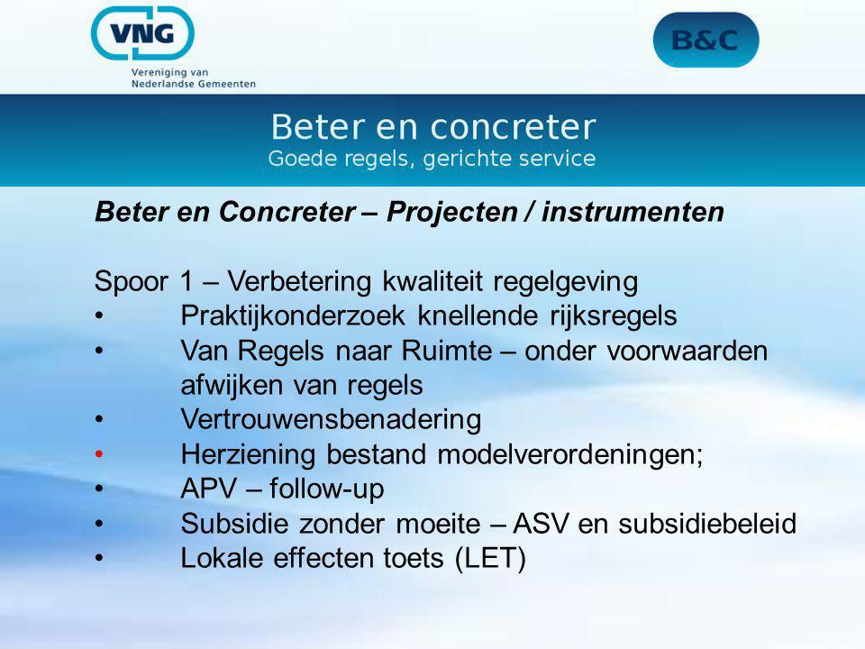 Beter en Concreter – Projecten / instrumenten
