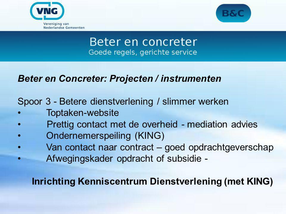Beter en Concreter: Projecten / instrumenten