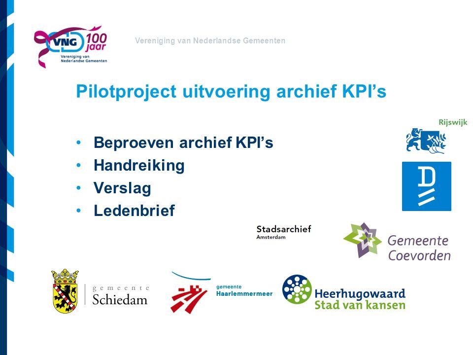 Pilotproject uitvoering archief KPI's