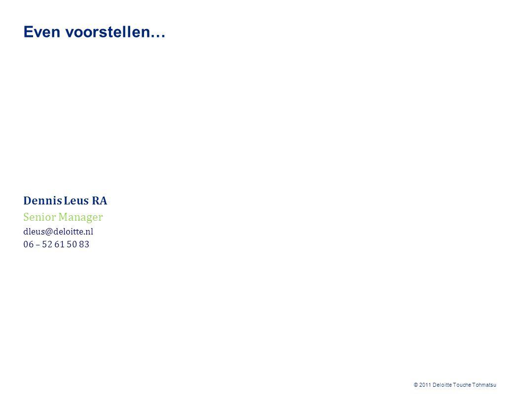 Even voorstellen… Dennis Leus RA Senior Manager dleus@deloitte.nl