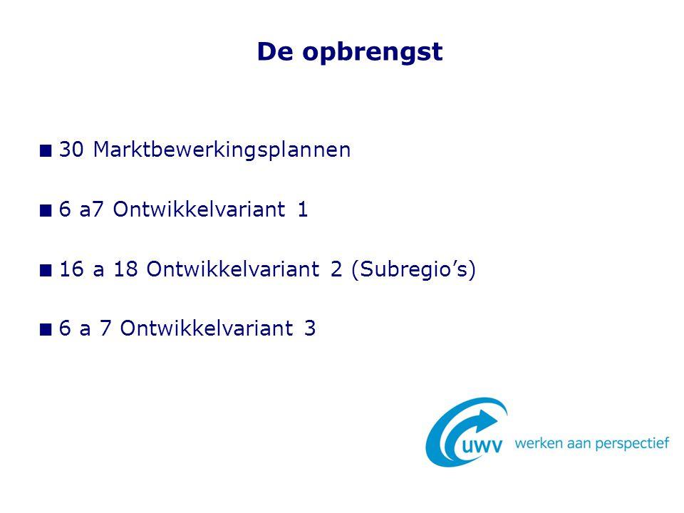 De opbrengst 30 Marktbewerkingsplannen 6 a7 Ontwikkelvariant 1