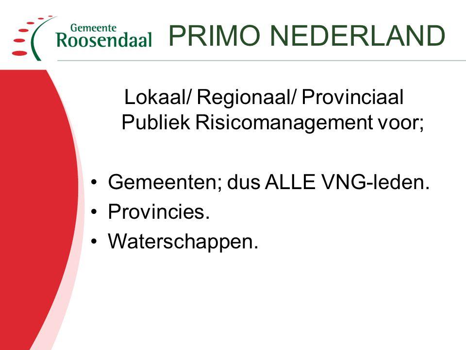 Lokaal/ Regionaal/ Provinciaal Publiek Risicomanagement voor;